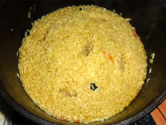 Собираем рис горкой